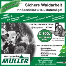 Gutscheine: Motorgeräte Müller - UMTAUSCHAKTION