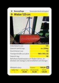 Mieten  Gartenwalzen: Rasenwalze - Walze 125cm (mieten)
