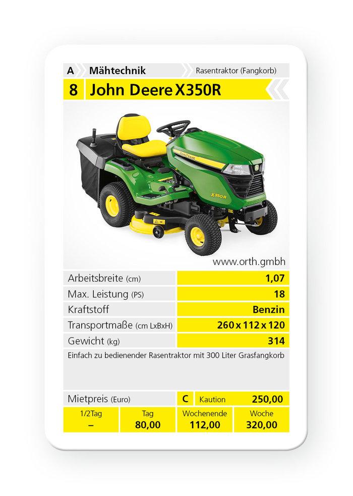 Mieten                                          Rasentraktoren:                     John Deere - X350R (mieten)