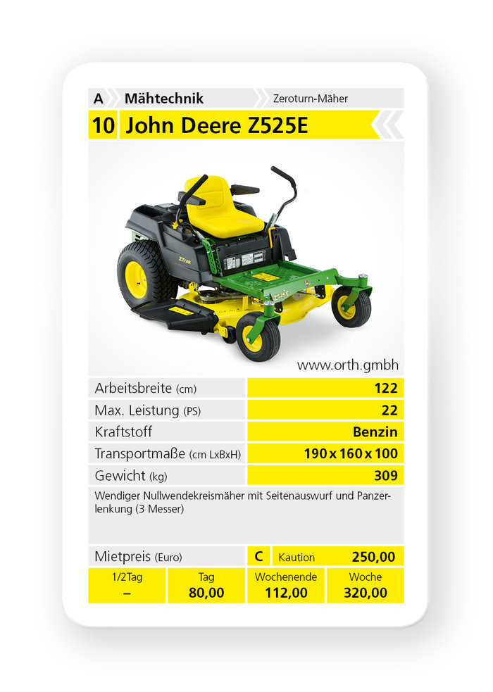 Mieten                                          Zero-Turn:                     John Deere - Z525E (mieten)